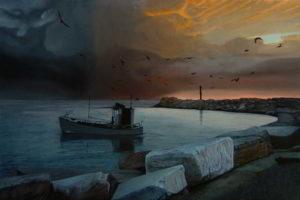 Dipinto n.14 (80x120 olio su tela 2018) - paesaggi costieri