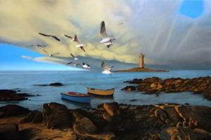 Dipinto n. 2 (100x150 olio su tela 2018) - paesaggi costieri