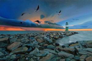 Dipinto n. 4 (80x120 olio su tela 2018) - paesaggi costieri