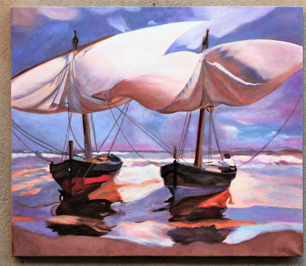 "Dipinto intitolato ""Vele al vento"""