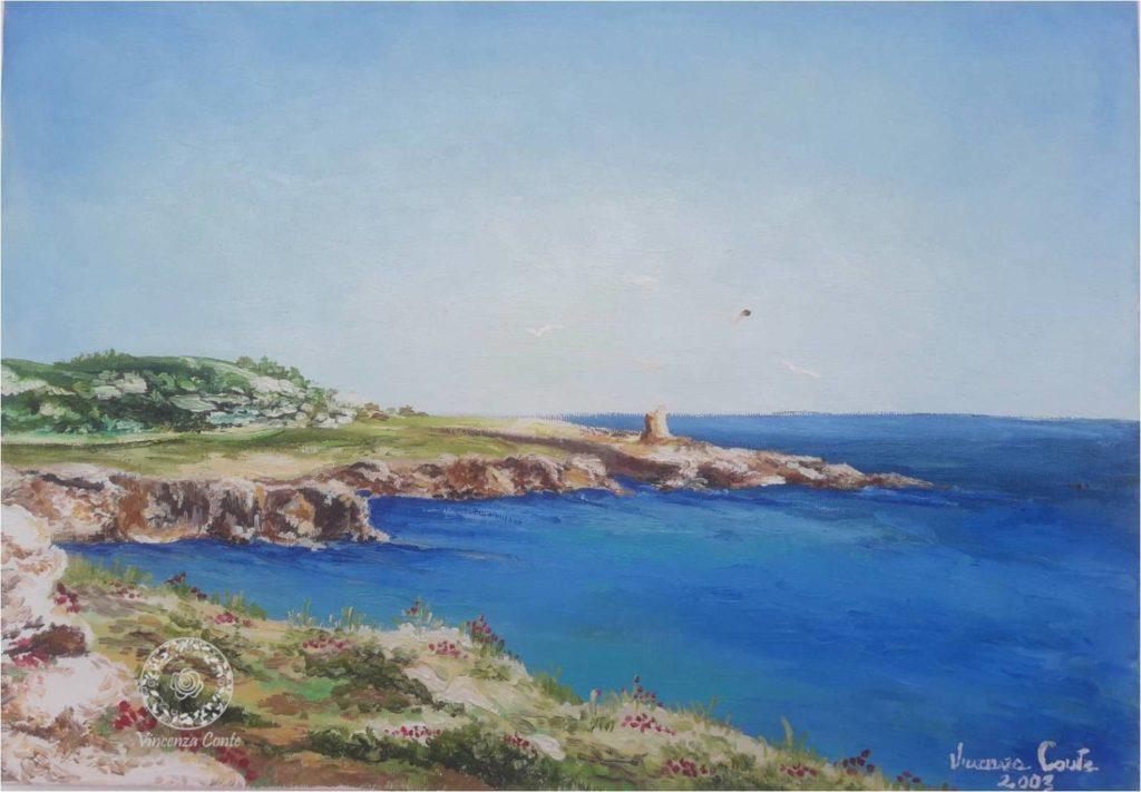 Pittura di scorcio roccioso della costa pugliese