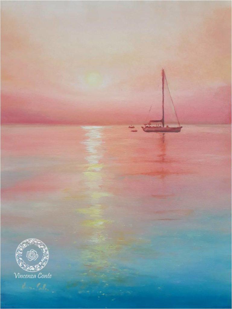 pittura di tramonto sul mare