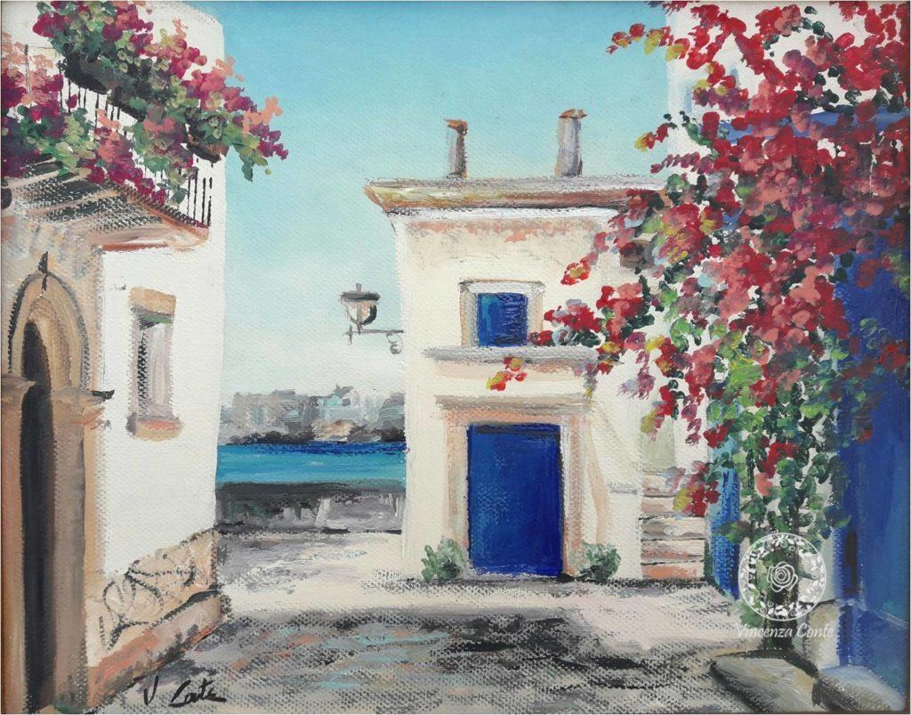 pittura ad olio - scorcio di Otranto