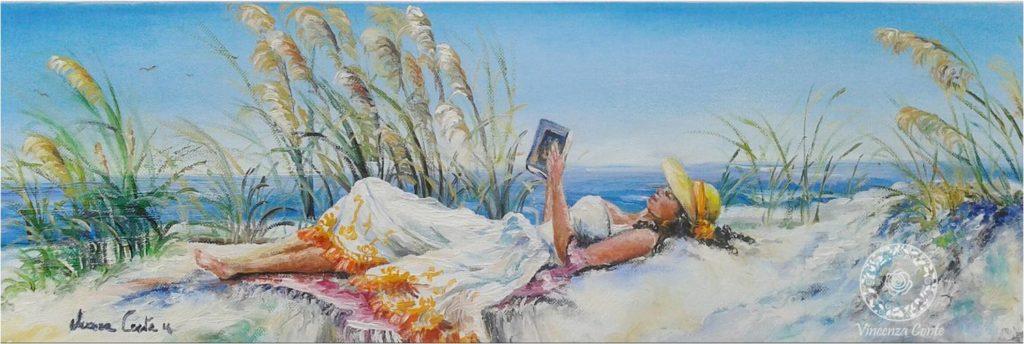 pittura ad olio - ragazza in lettura sulla spiaggia