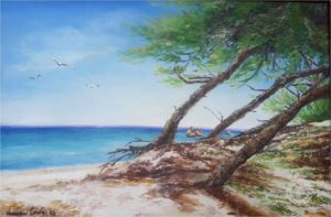 paesaggio costiero in questa pittura ad olio