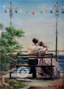 dipinto di coppia davanti al mare