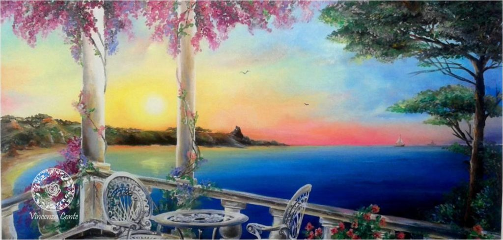 pittura di tramonto sulla costa pugliese