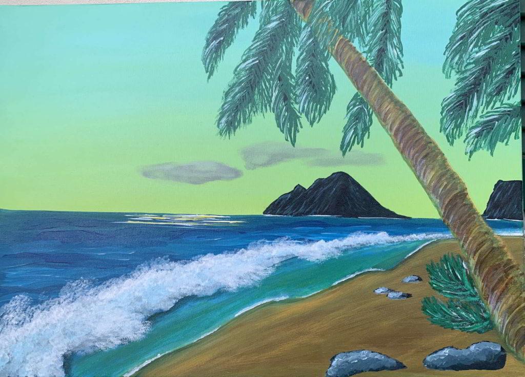 dipinto spiaggia dei caraibi