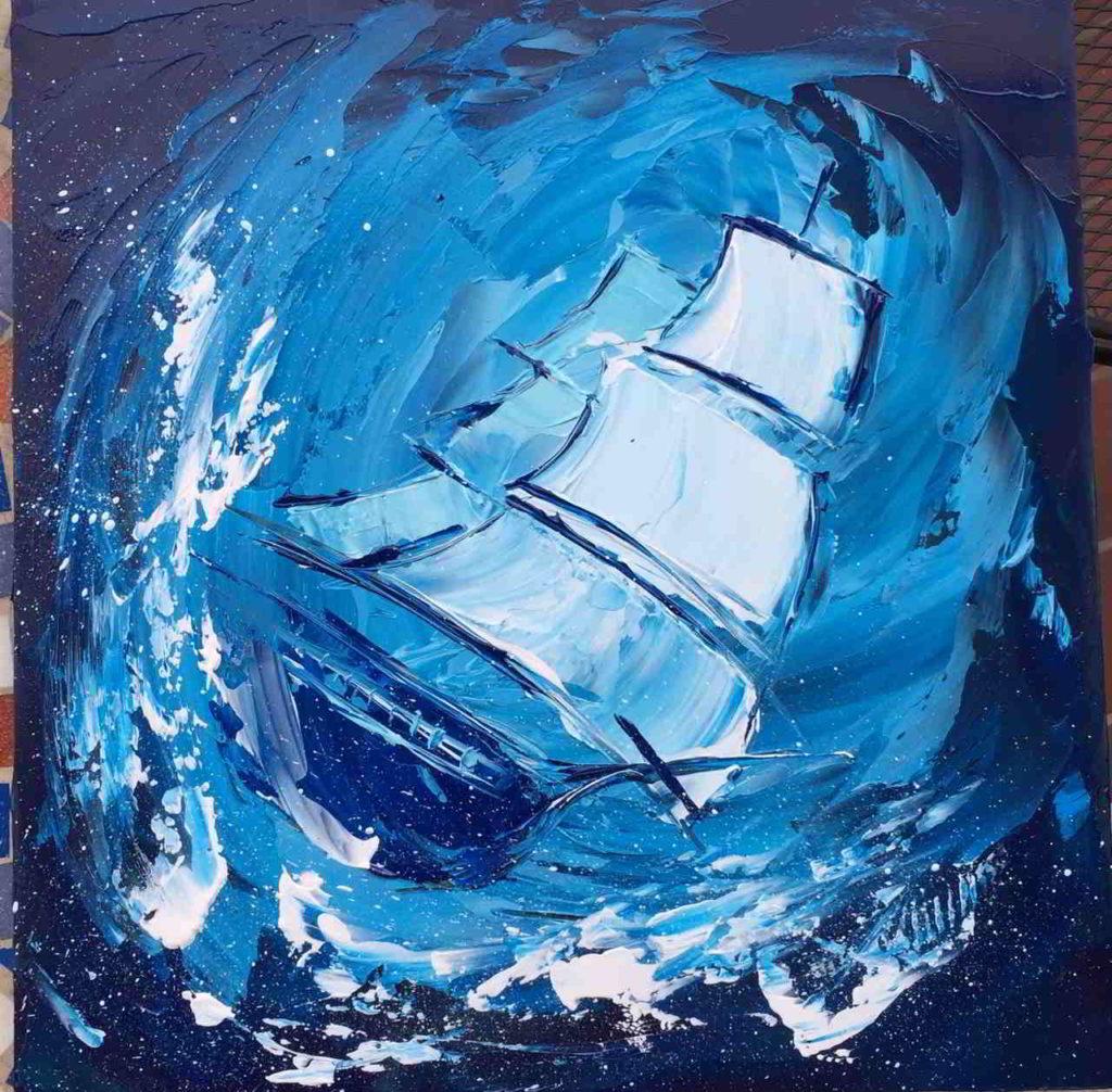 dipinto mare in tempesta con veliero