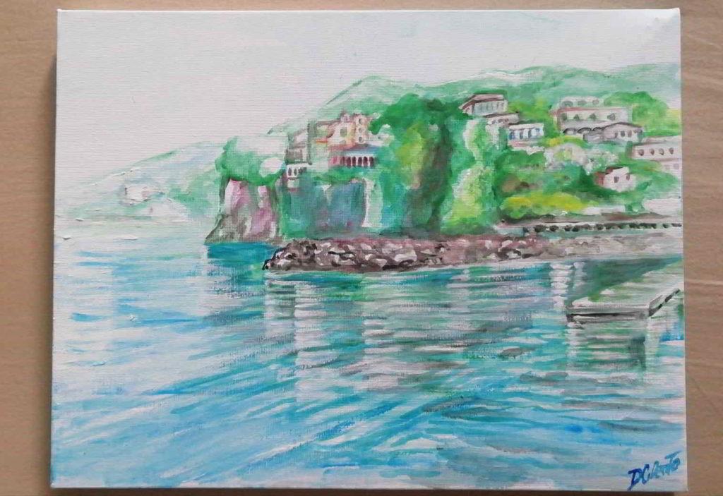 dipinto di paesaggio costiero napoletano